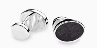 Deumer Manschettenknopf oval Schiefer Silber
