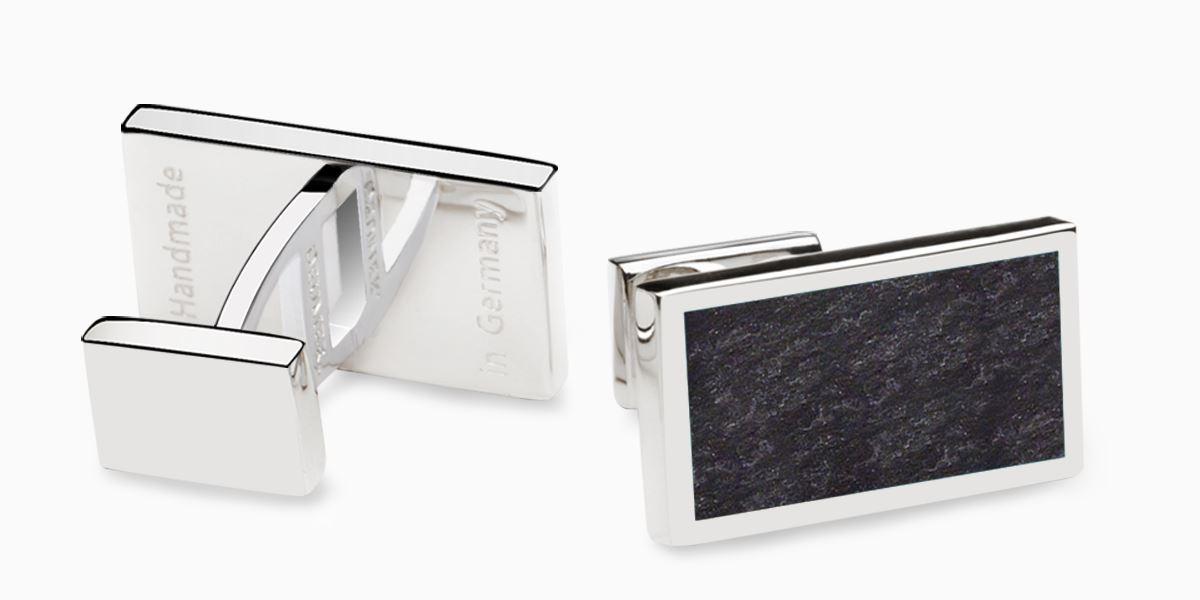 Deumer-Manschettenknopf-Rechteck-Schiefer-Silber
