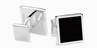 Deumer Manschettenknopf quadrat Onyx Silber