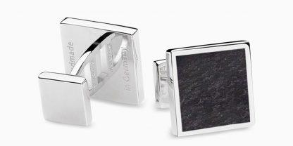Deumer Manschettenknopf quadrat Schiefer Silber