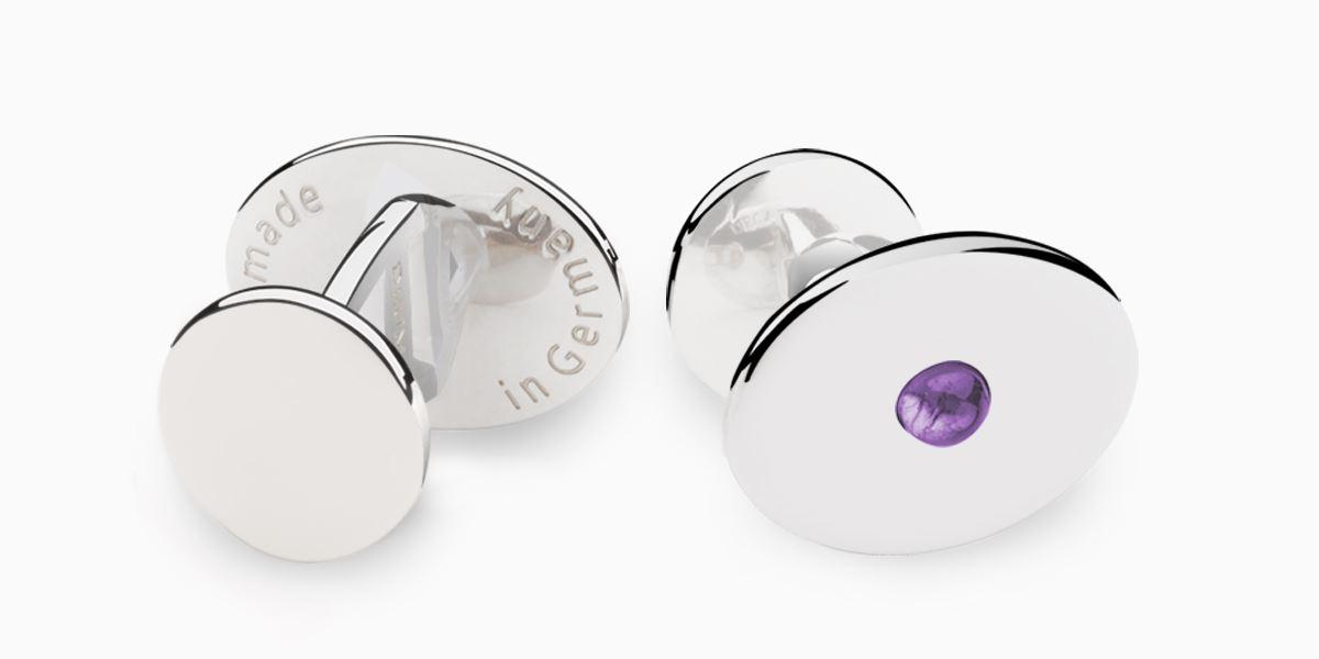 Deumer Manschettenknopf oval linsig Ametyst Silber