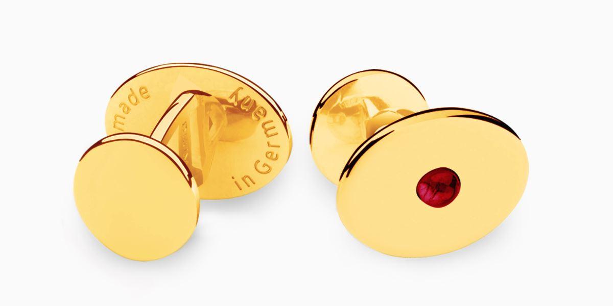 Deumer Manschettenknopf oval linsig Granat Gold