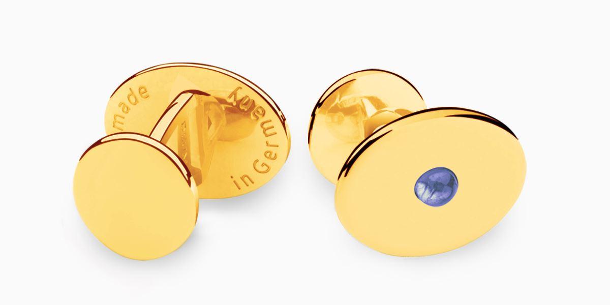 Deumer Manschettenknopf oval linsig Iolith Gold