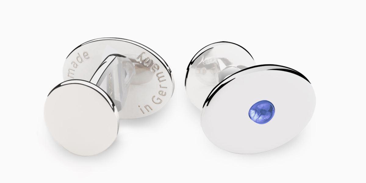 Deumer Manschettenknopf oval linsig Iolith Silber