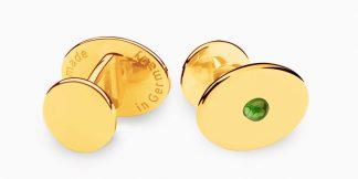 Deumer Manschettenknopf oval linsig Turmalin Gold