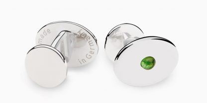 Deumer Manschettenknopf oval linsig Turmalin Silber