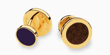 Deumer-Manschettenknopf-Emaille-Braun-Blau-Gold