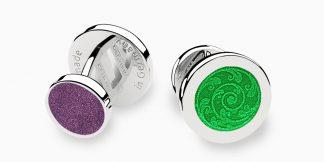 Deumer-Manschettenknopf-Emaille-Grün-Violett-Silber