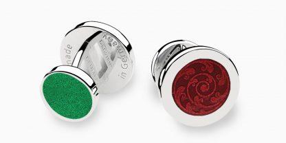 Deumer-Manschettenknopf-Emaille-Rot-Grün-Silber
