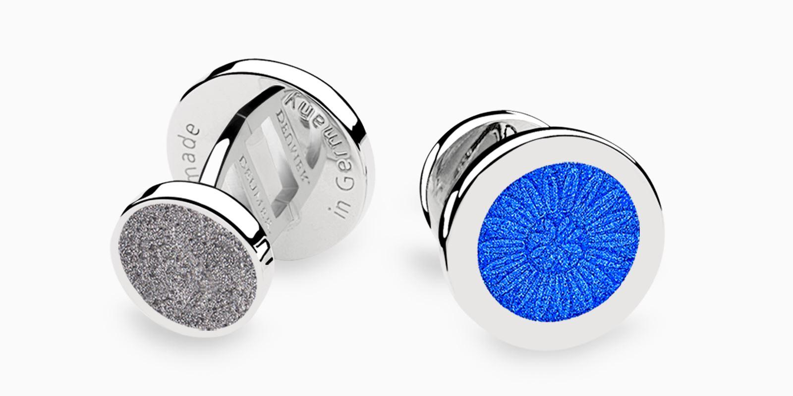 Deumer-Manschettenknopf-Emaille-Blau-Anthraziz-Silber